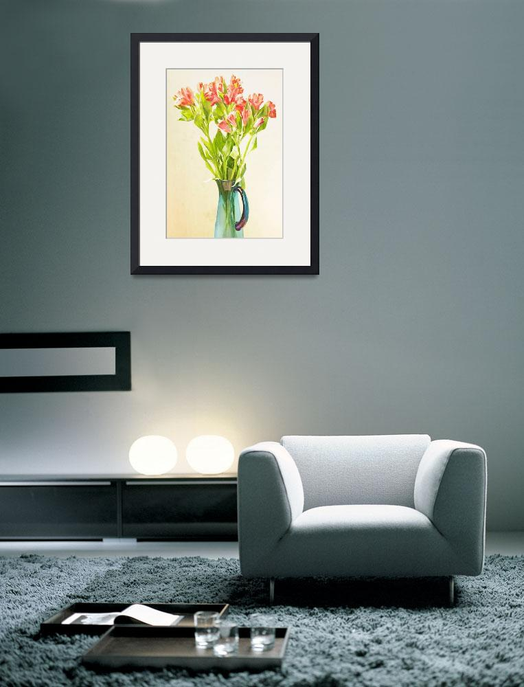 """""""Red Alstroemeria Flowers in Blue Vase P5160314&quot  by WilliamWernicke"""