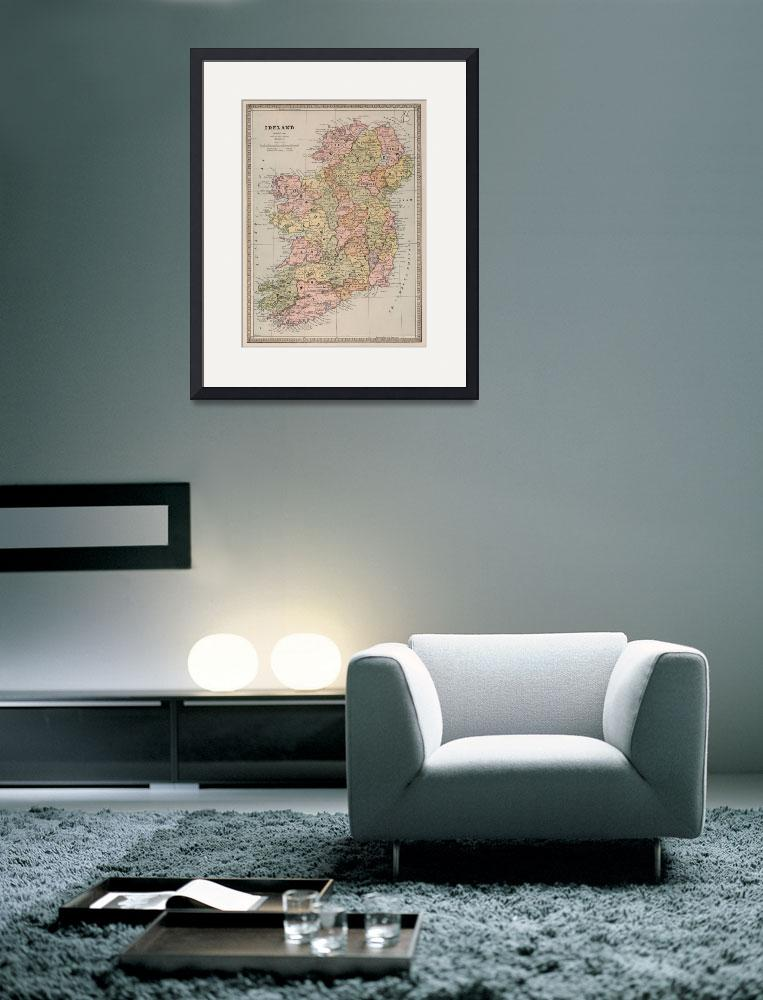 """Vintage Map of Ireland (1883)&quot  by Alleycatshirts"