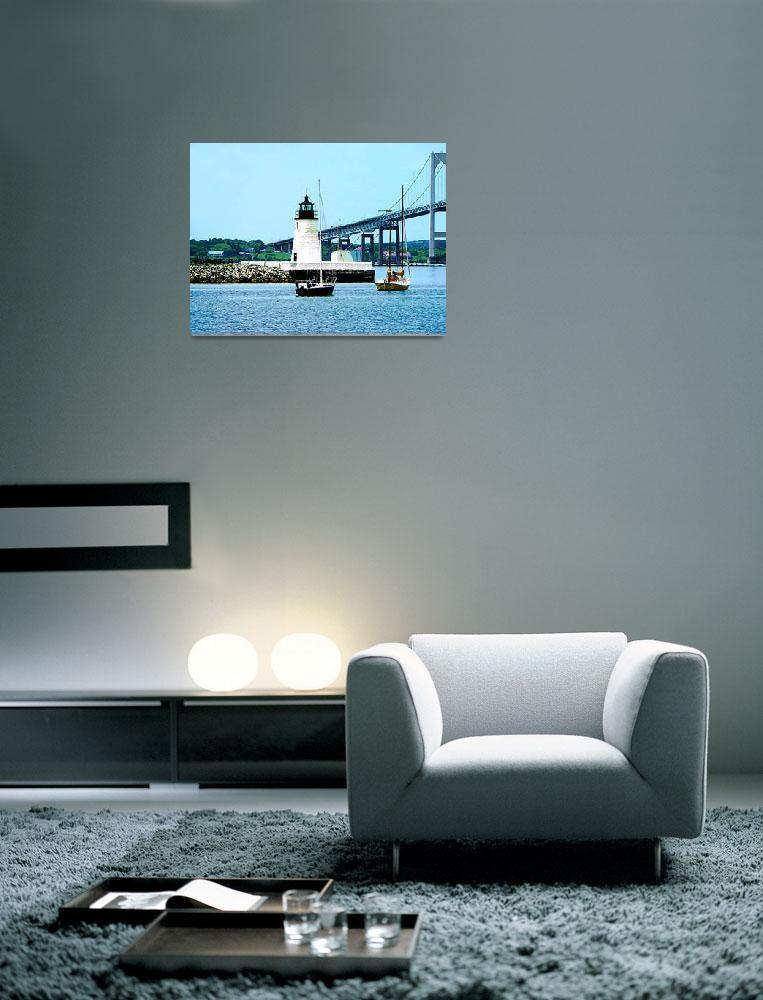 """Rhode Island - Lighthouse Bridge And Boats Newport""  by susansartgallery"