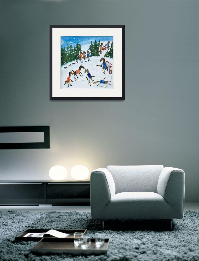 """Horse Hockey Winter Scene&quot  (2016) by rotenbergposters"
