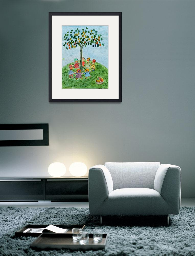 """""""WP-006 Children Playing Under the Tree&quot  (2012) by cneartgallery"""