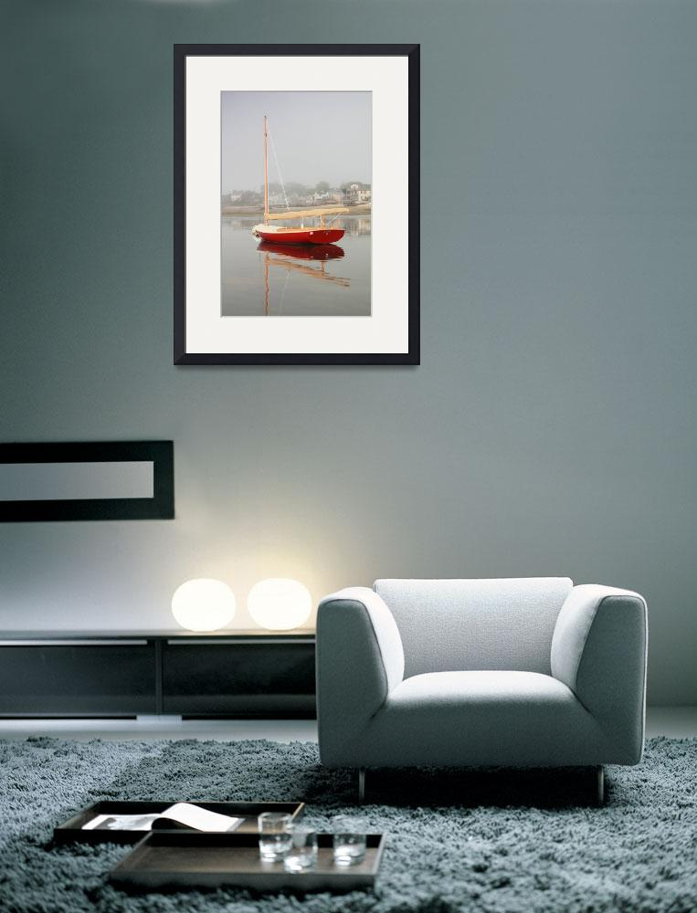 """""""Red Catboat on Provincetown Harbor, Cape Cod""""  (2012) by RoupenBaker"""