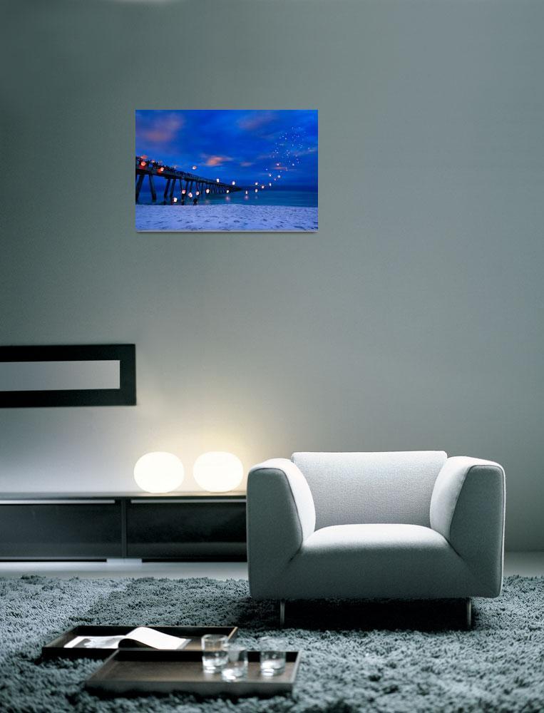 """""""Inspirational Art Print Paper Lanterns Landscape&quot  (2013) by eszra"""