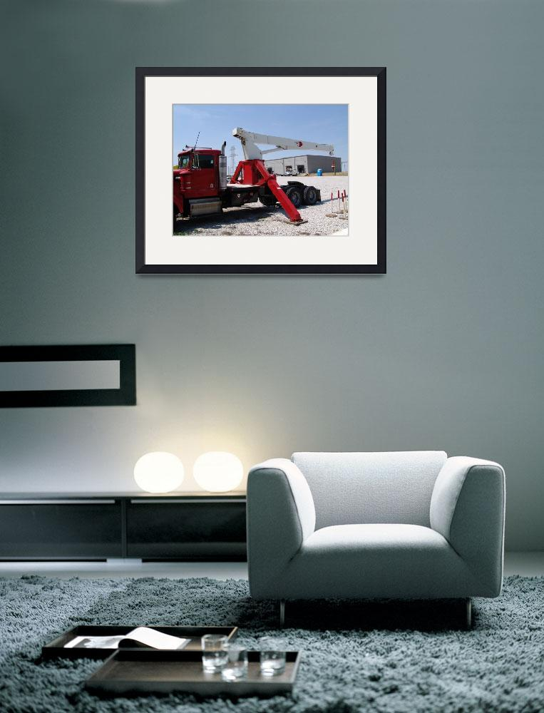"""""""Red Grapple truck with boom""""  (2012) by TheElectricOrphanage"""