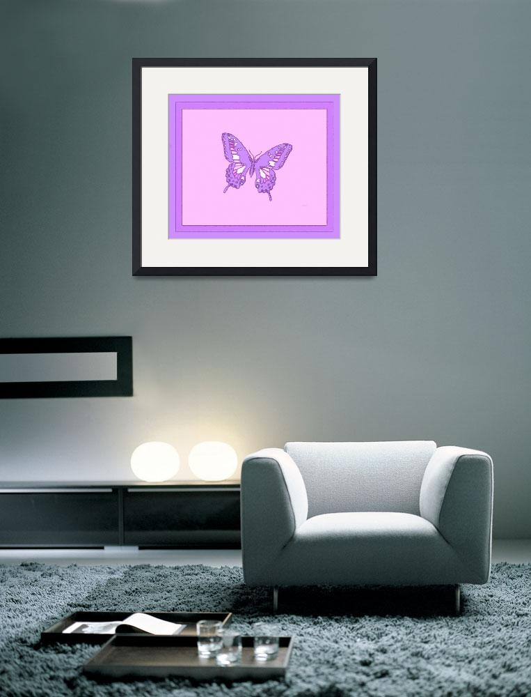 """""""Violet Butterfly Salmon Background&quot  (2013) by TheNorthernTerritory"""
