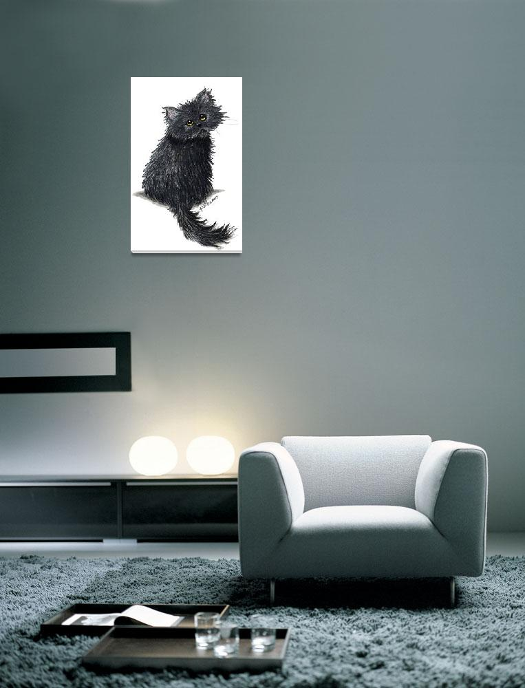 """Black Persian Cat&quot  (2007) by KiniArt"