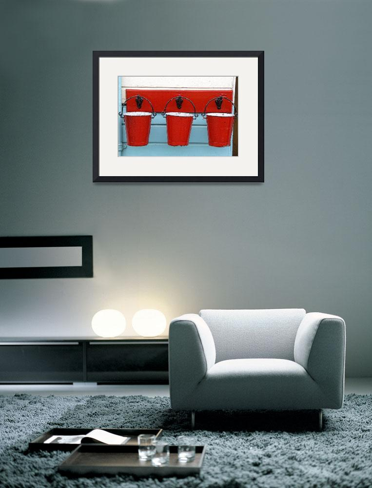"""Three Red Buckets&quot  by DesignPics"