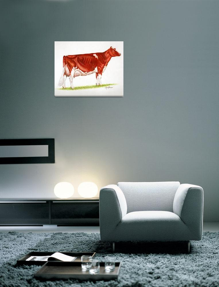 """Red & White Holstein Cow&quot  (2010) by gsauder"
