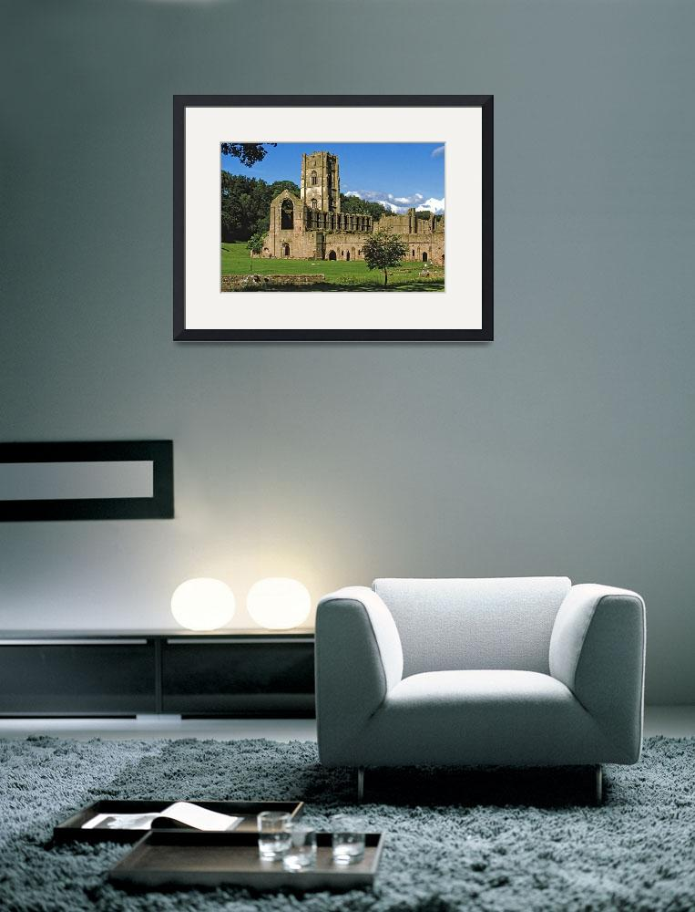 """""""Fountains Abbey in Summer 10&quot  (1990) by PriscillaTurner"""