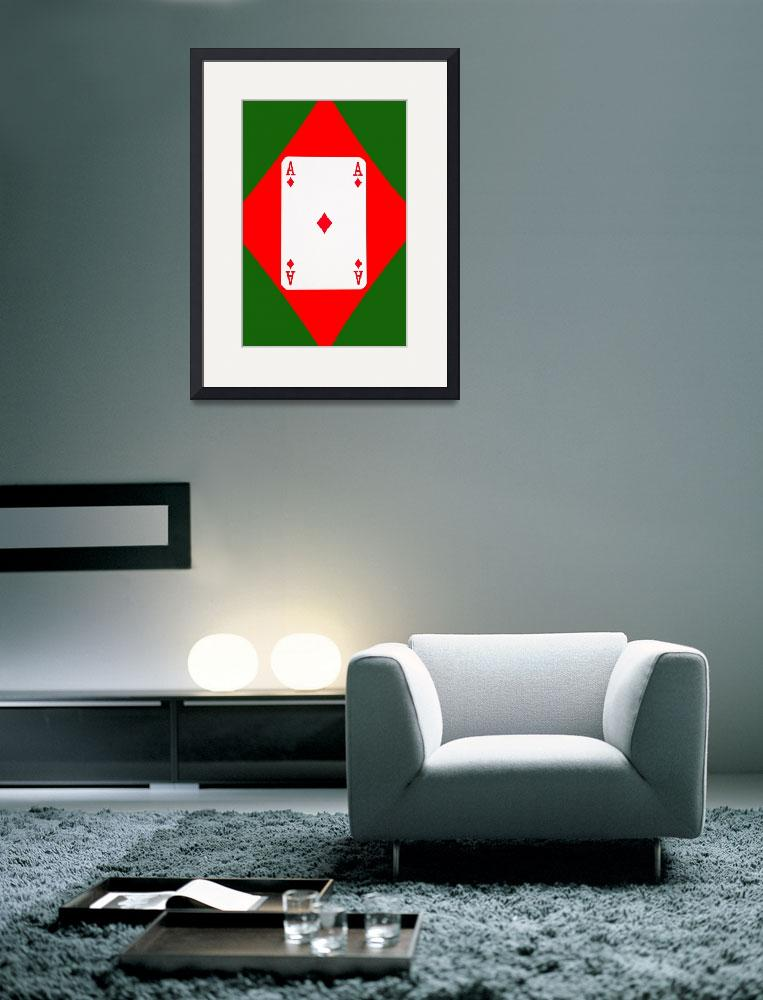 """""""Playing Cards Ace of Diamonds on Green Background&quot  (2012) by NatalieKinnear"""