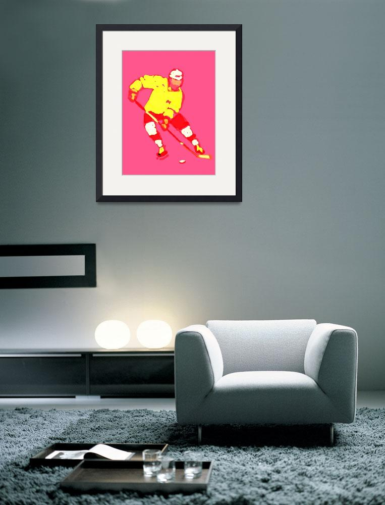 """Hockey Left Wing pink yellow red maroon (c)&quot  (2014) by edmarion"