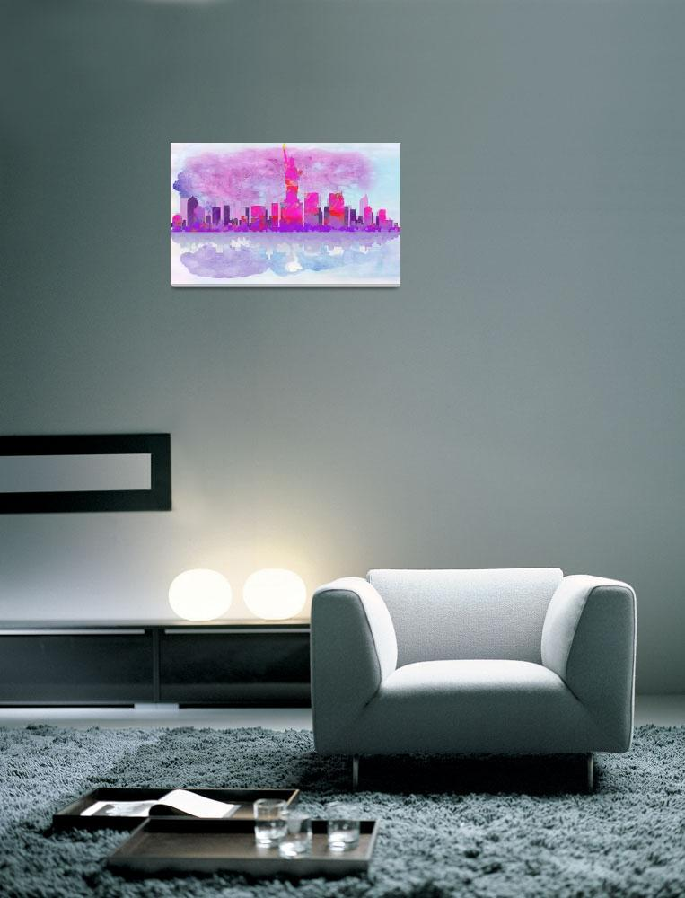 """""""New York City Silhouette in Hot Pink and Purple&quot  by WrightFineArt"""