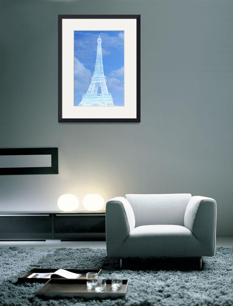 """""""Eiffel Tower in Blue and White&quot  (2016) by CoraNiele"""