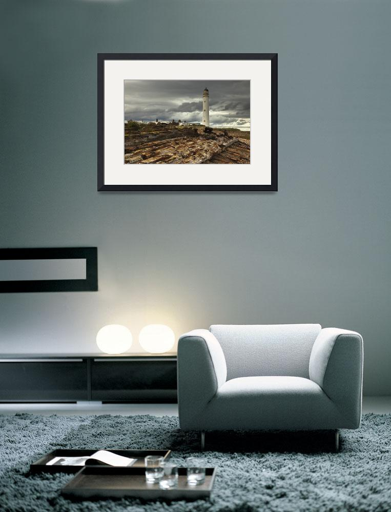 """A Lighthouse And Piles Of Logs On The Shore Cove&quot  by DesignPics"