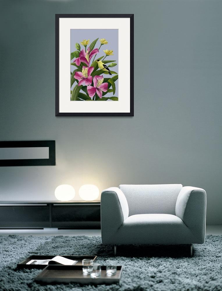 """""""Flowers With Goldfinch&quot  by waterart"""