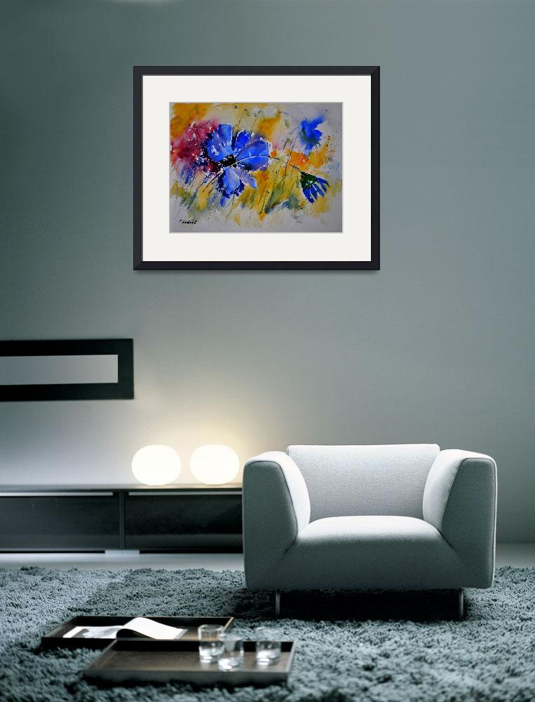 """""""watercolor blue flowers&quot  by pol"""