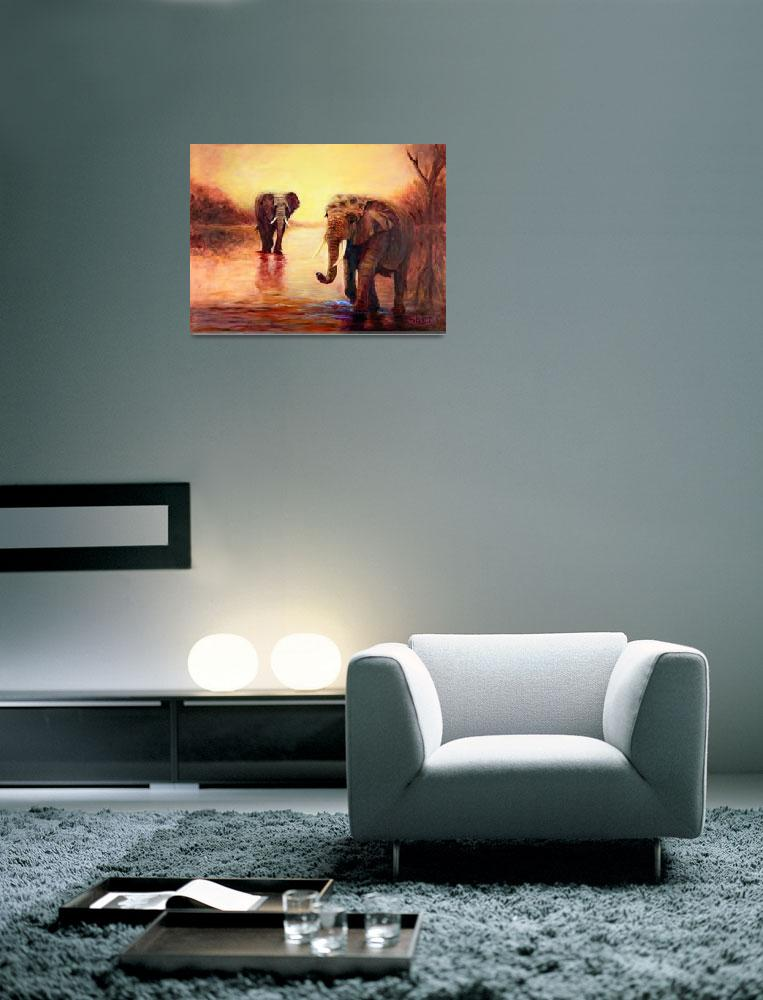 """""""African Elephants at Sunset&quot  by shernasser"""
