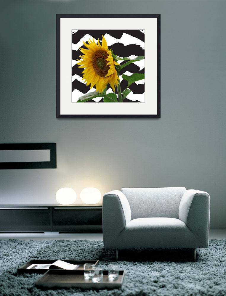 """""""Sunflower on zig zags- quirky for etsy&quot  by SPFinePrints"""