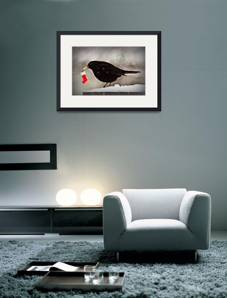"""""""Blackbird with christmas stocking&quot  by Spangles44"""