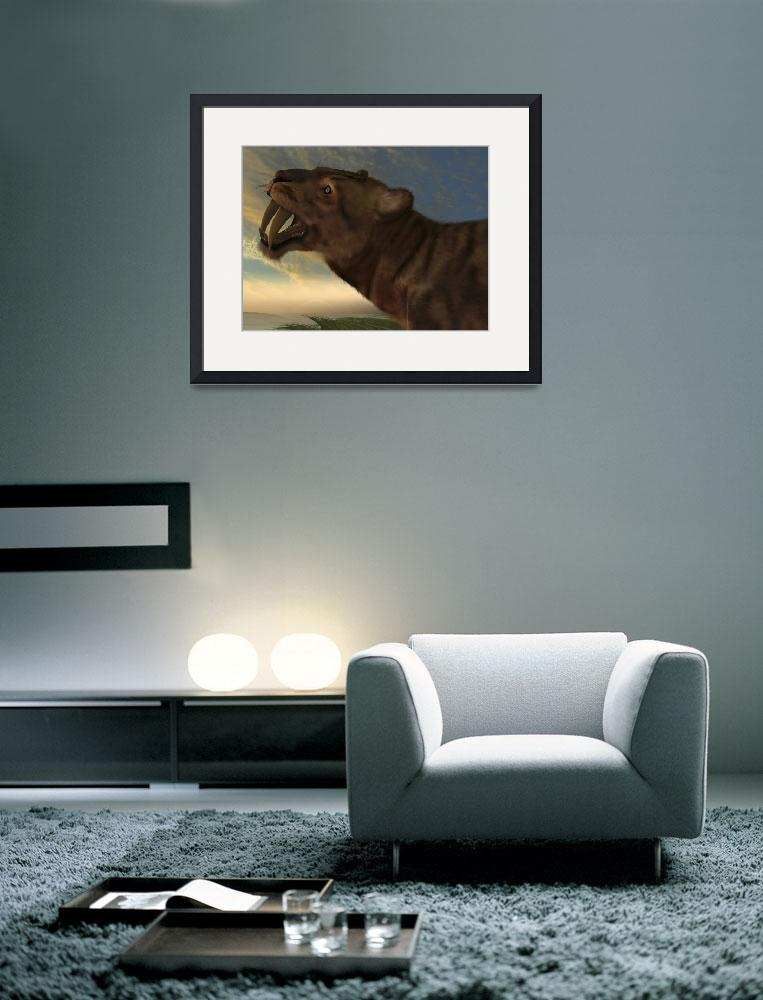 """""""The Saber-Tooth Cat with dagger like front canine""""  by stocktrekimages"""