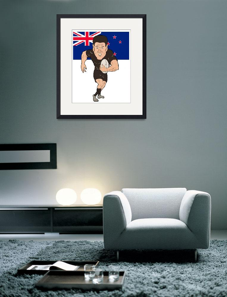"""Rugby player running ball New Zealand flag""  (2013) by patrimonio"