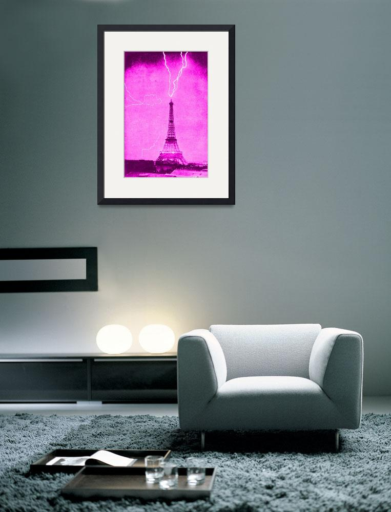 """""""Eiffel Tower Struck by Lightening Pink & violet&quot  (2013) by TheNorthernTerritory"""