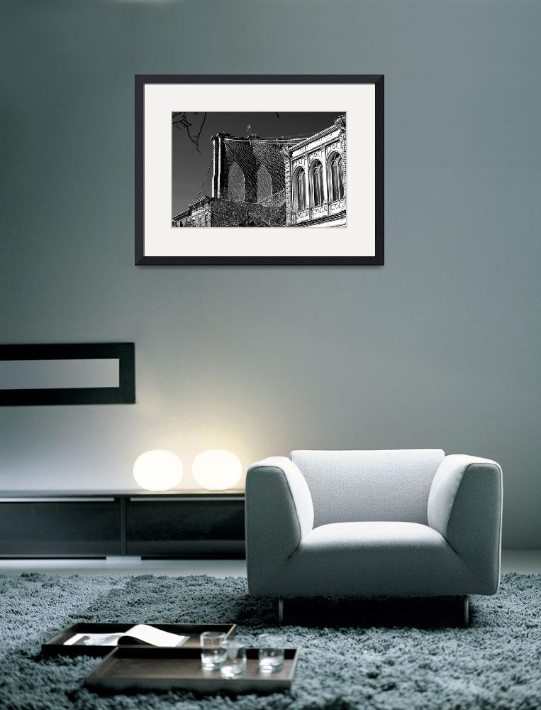 """""""Brooklyn Bridge Tower and Cables in Black & White&quot  (2014) by New-Yorkled"""