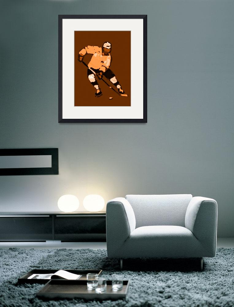 """Hockey Left Wing brown tan khaki white (c)&quot  (2014) by edmarion"