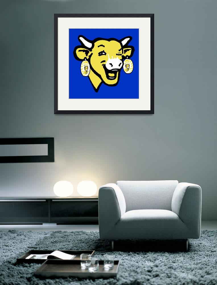 """""""The Laughing Cow Pop 3 - Yellow  on Blue)""""  (2015) by peterpotamus"""