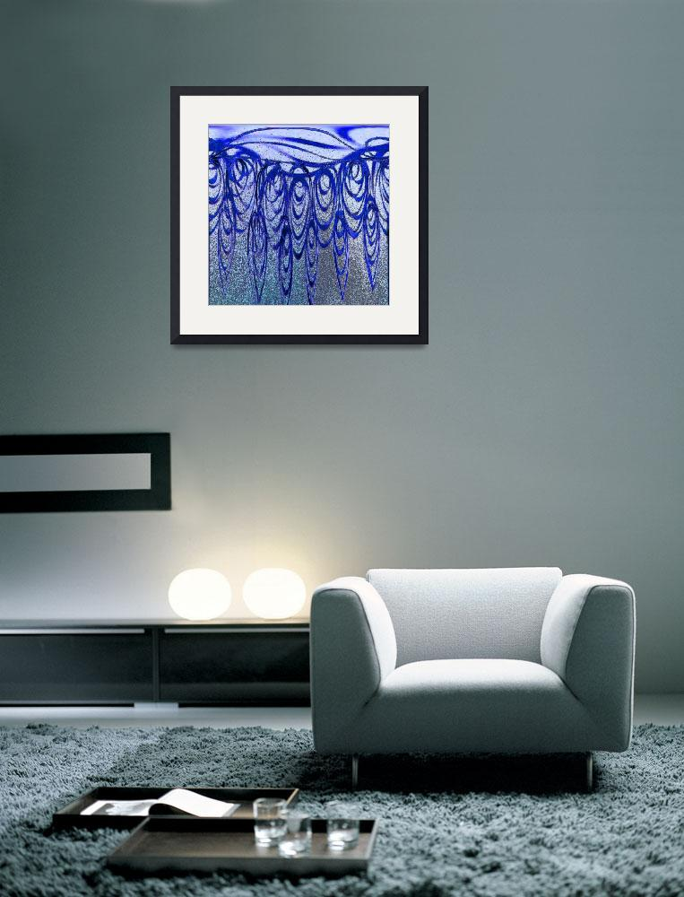 """""""Blue and Black Abstract Curls""""  (2012) by KsWorldArt"""