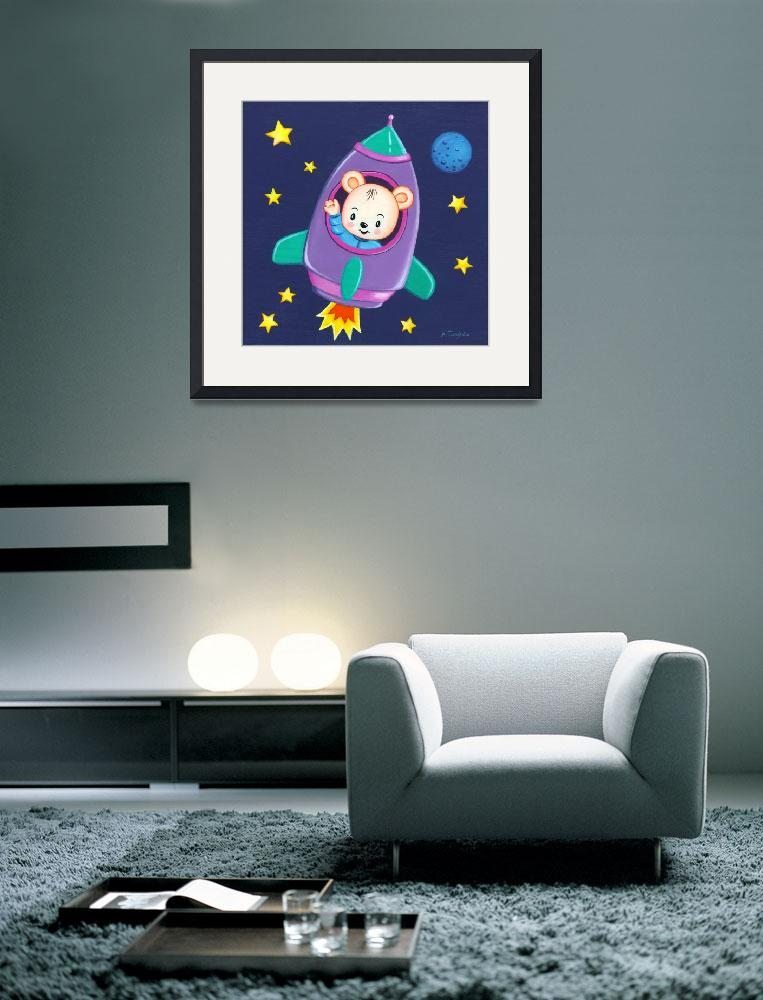 """""""Kids room art with Space Bear in a rocket&quot  by nopiepan"""