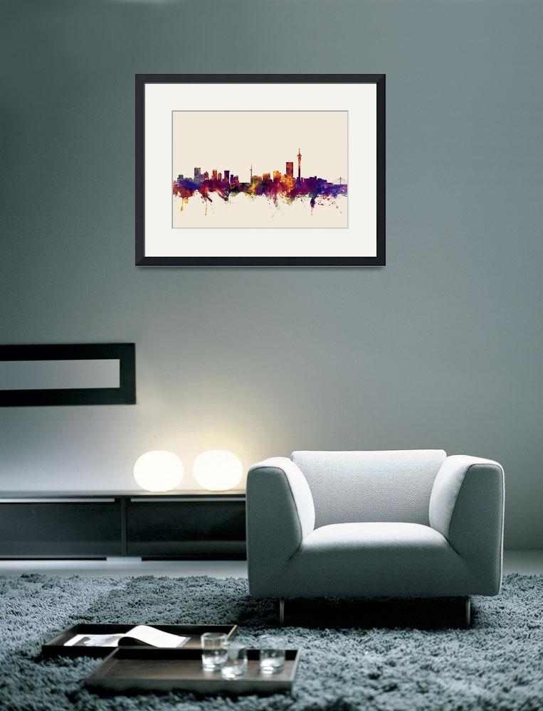 """Johannesburg South Africa Skyline""  (2015) by ModernArtPrints"