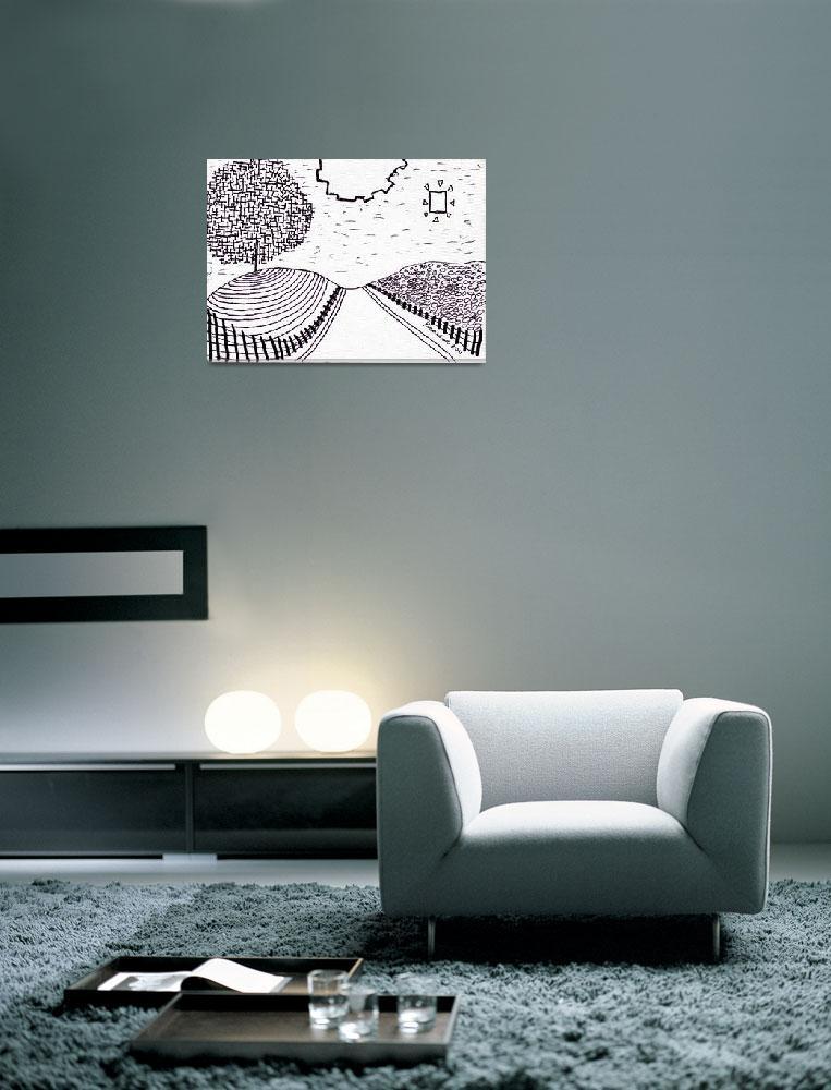 """""""Zen Sumi Rock Garden Enhanced Black Ink on White C""""  (2011) by Ricardos"""