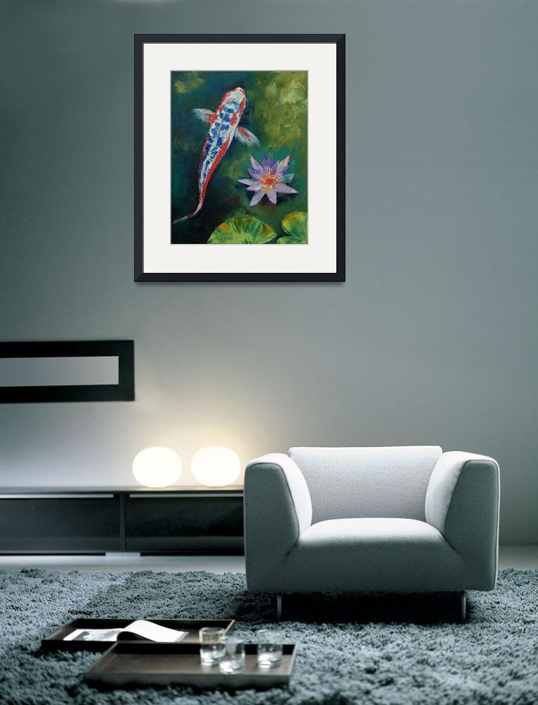 """""""Shusui Koi and Water Lily&quot  by creese"""