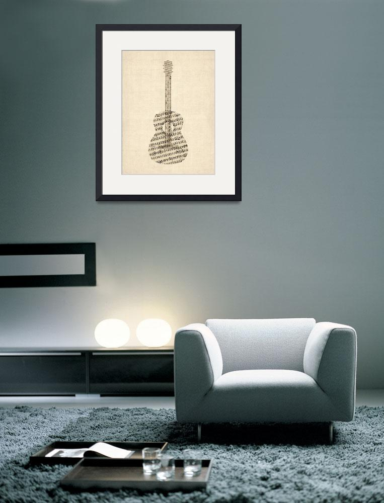 """Acoustic Guitar Old Sheet Music&quot  by ModernArtPrints"
