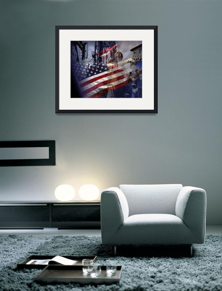"""""""Dramatic American Flag-Oil Gas Industry-Tribute""""  (2015) by Tulsa1000"""