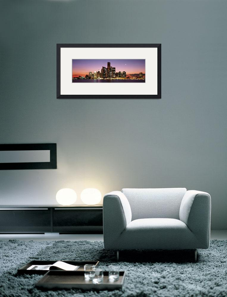 """""""Night Skyline Detroit MI&quot  by Panoramic_Images"""