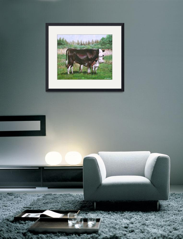 """""""cows in field_demo small painting&quot  (2012) by martindavey"""