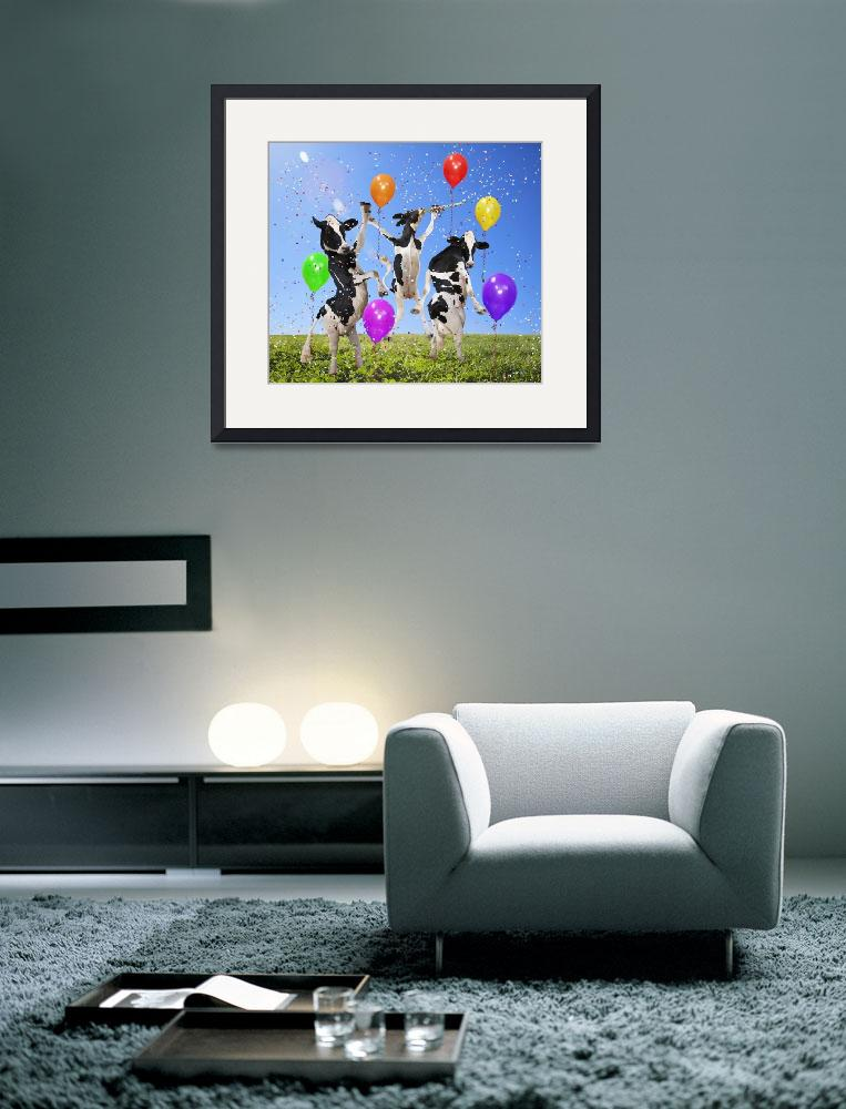"""""""Holstein cows dance party in grassy sunny meadow""""  by StephanieDRoeser"""