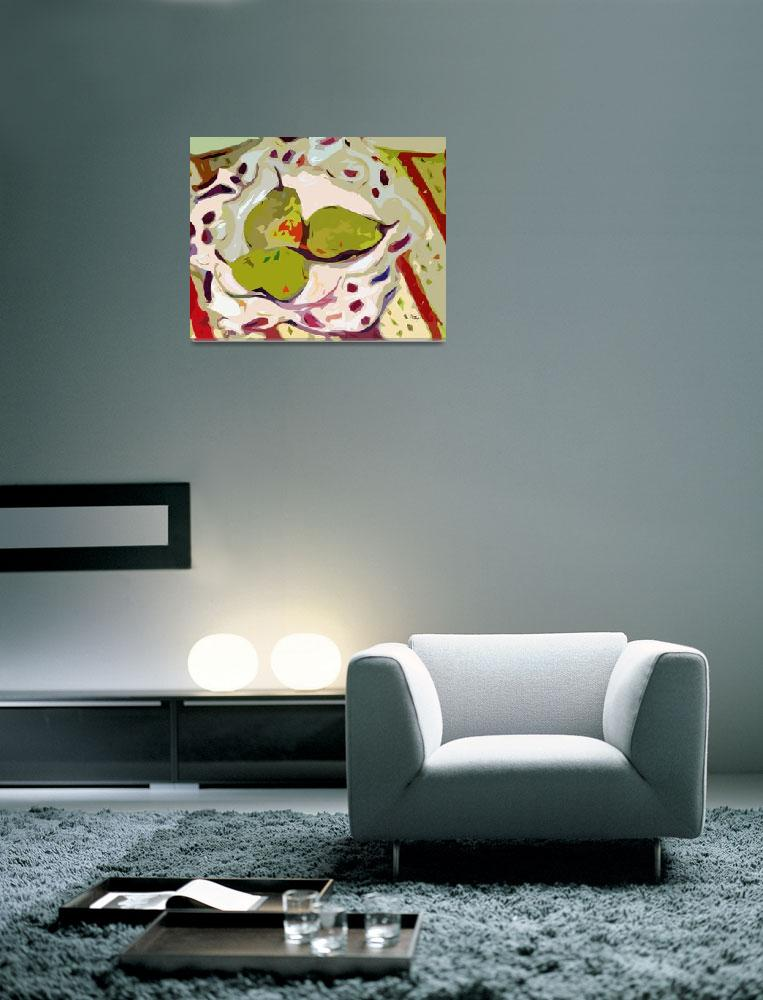 """""""Abstract Three Green Pears Art by Ginette&quot  (2012) by GinetteCallaway"""