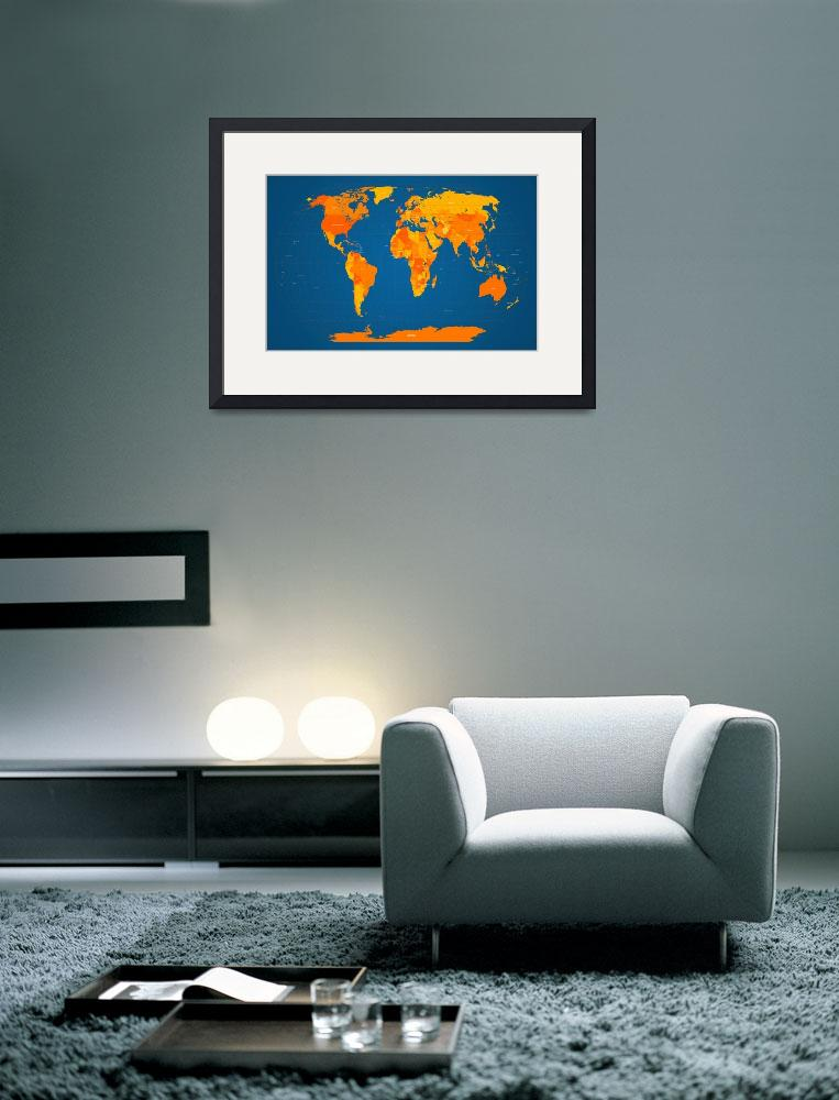 """""""World Map in Orange and Blue&quot  (2011) by ModernArtPrints"""