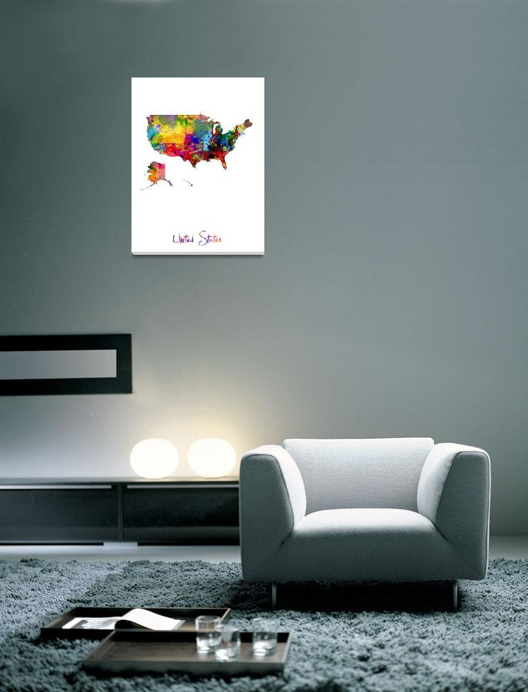 """""""United States Watercolor Map&quot  (2016) by ModernArtPrints"""