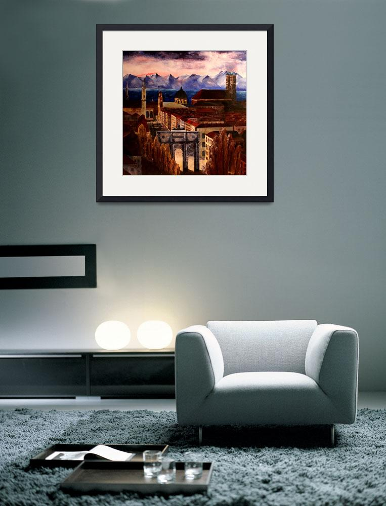 """""""Munich With Leopoldstreet Siegestor And Alps&quot  (2008) by arthop77"""