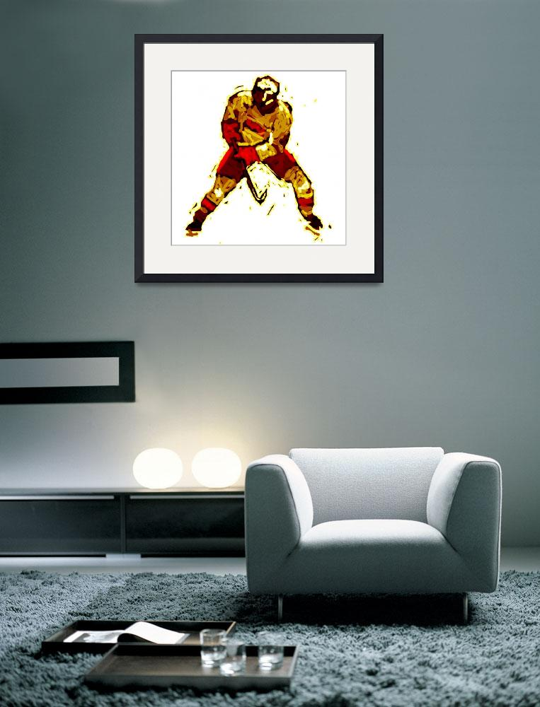 """Hockey Defenseman red orange maroon (c)&quot  (2014) by edmarion"