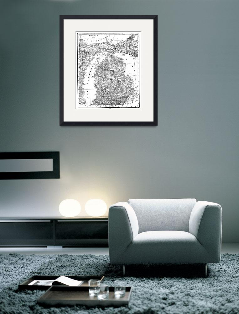 """""""Vintage Map of Michigan (1909) BW&quot  by Alleycatshirts"""