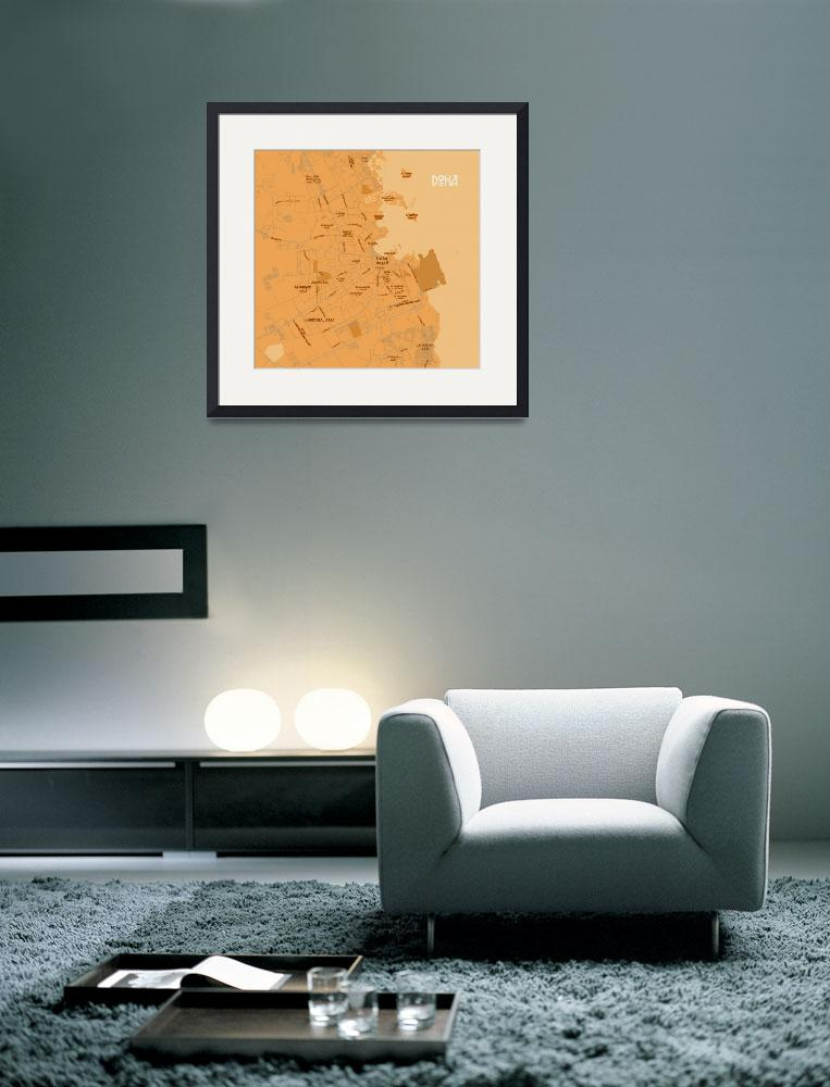 """Minimalist Modern Map of Doha, Qatar 5A&quot  by motionage"