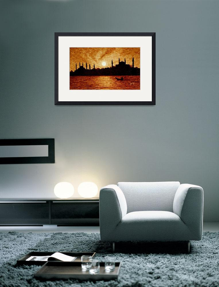 """Sunset over Istanbul original coffee painting&quot  (2011) by georgeta-blanaru"
