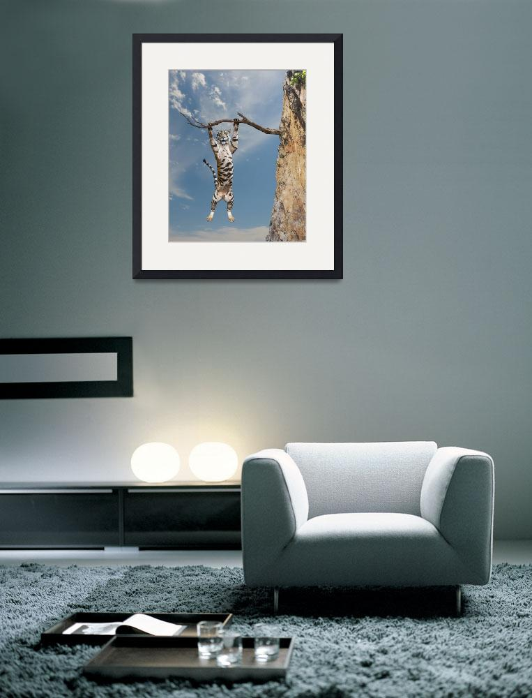 """""""Funny-Tiger-Hanging-In-There&quot  (2014) by johnlund"""