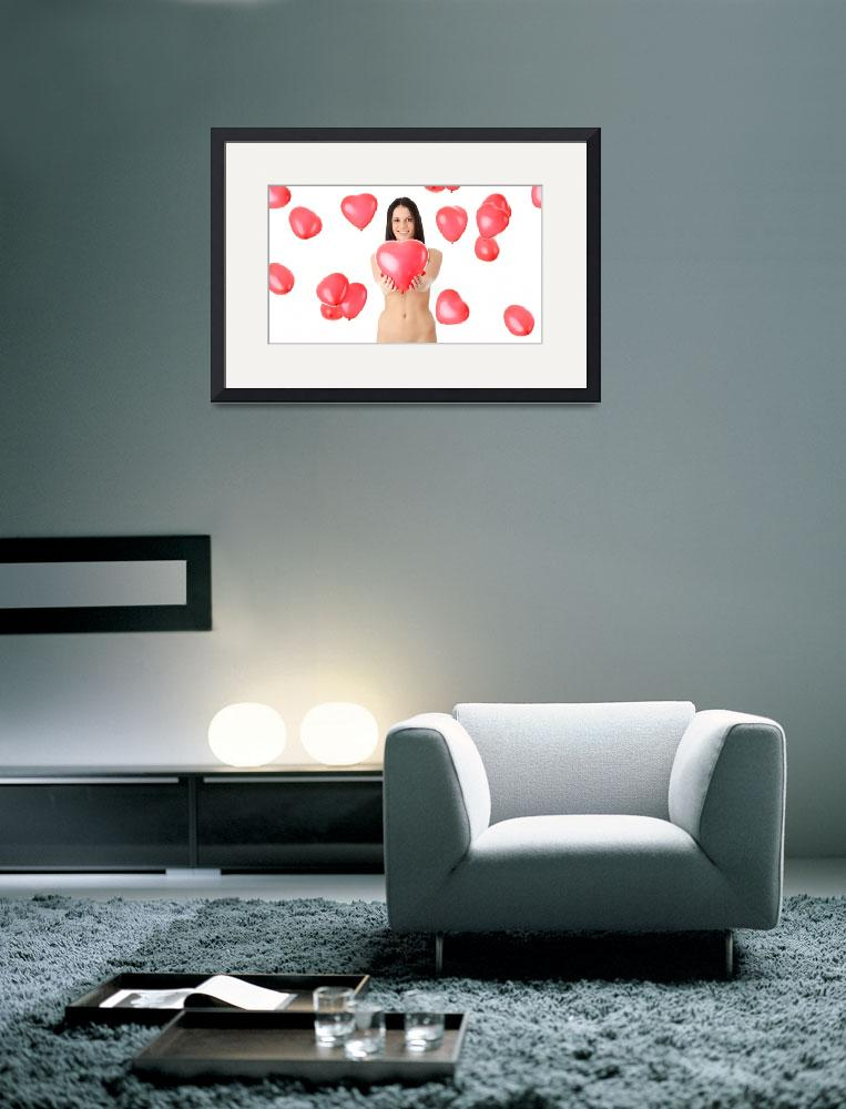 """""""Beautiful nude girl with red heart balloon .&quot  (2010) by Piotr_Marcinski"""
