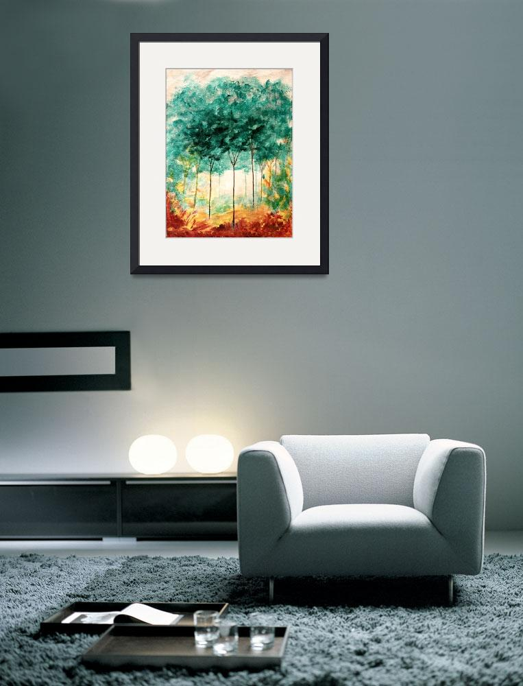 """""""A Stroll In The Park Abstract Landscape Art Trees""""  (2008) by Itaya"""